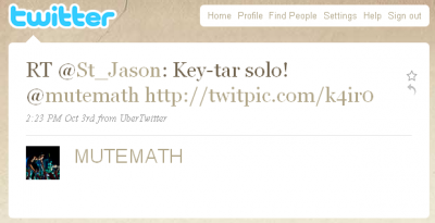 Mutemath retweets Jason - ACL fest 2009