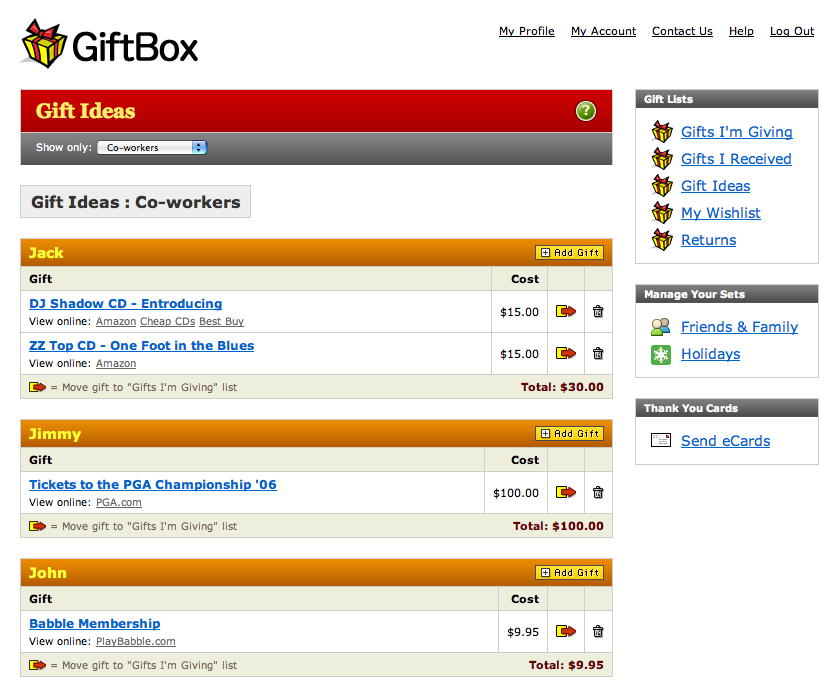 Interface of GiftBoxHome.com