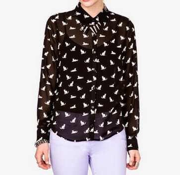 Cat Blouse Forever 21 - See more Cat Lady Fashion at Qcait.com