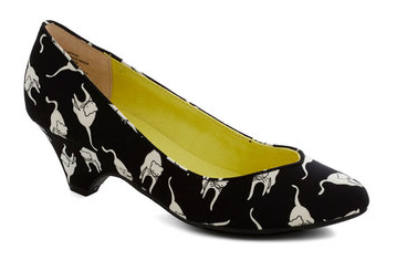 Feline print heels from Modcloth - See more Cat Lady Fashion at Qcait.com
