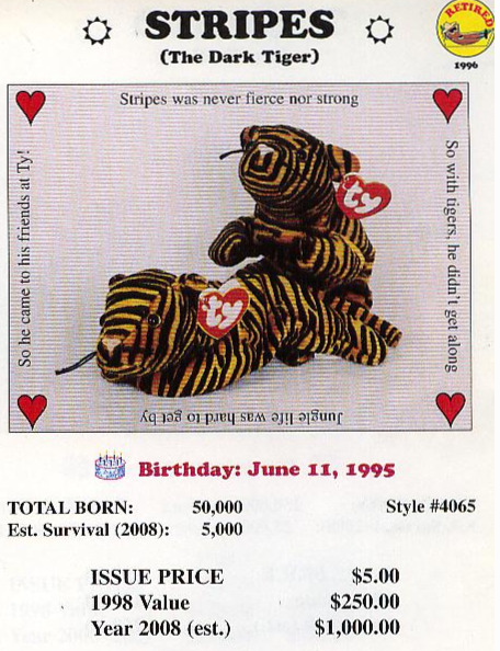Stripes the Tiger Beanie Baby Estimated Value