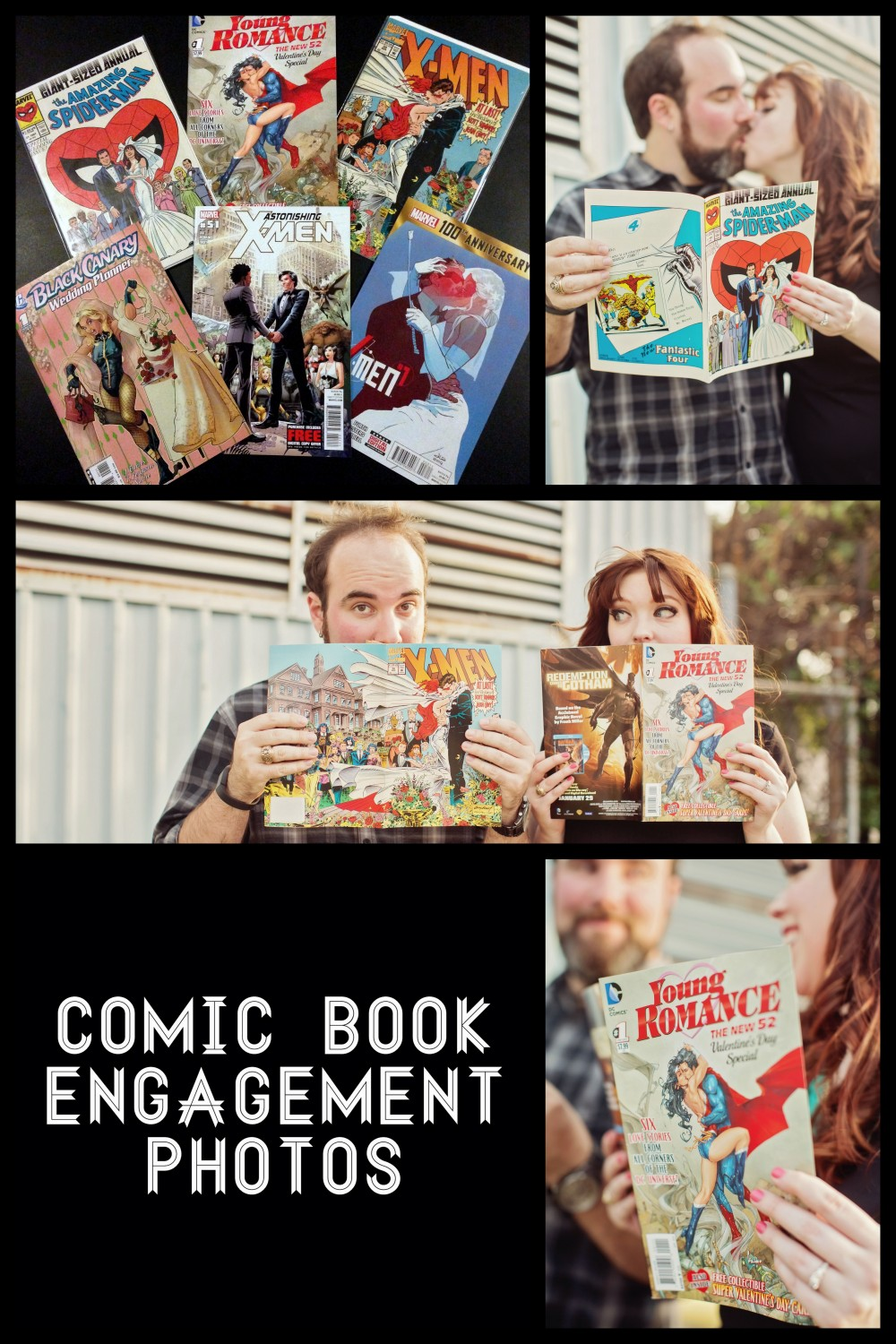 Comic Book covers featuring wedding art and ideas for engagement photos with comic books! qcait.com