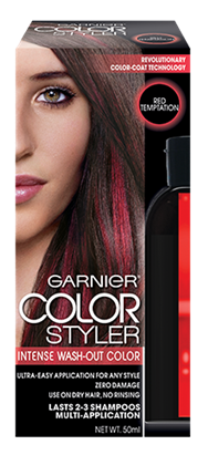 Garnier intense wash-out color in Red Temptation
