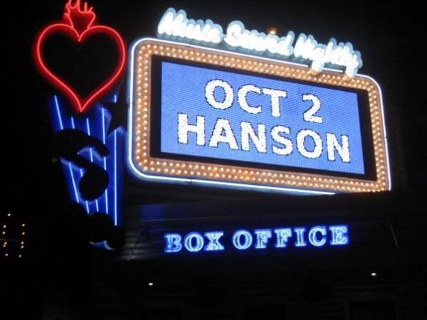 Hanson concert Oct. 2, 2007