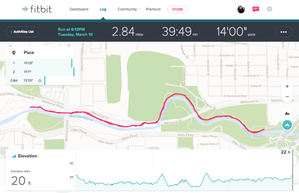 Tracking run on FitBit