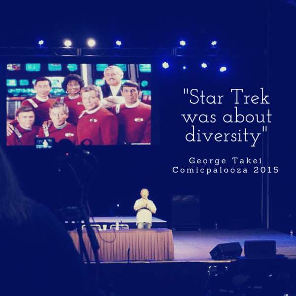 """Star Trek was about diversity"" George Takei at Comicpalooza 2015"